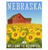 Nebraska travel poster or sticker Vector illustration of sunflowers in front of old red barn