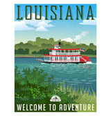 Louisiana travel poster or sticker Vector illustration of paddle wheel riverboat and scenic landscape