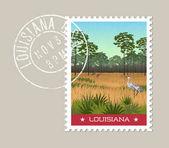 Louisiana postage stamp design Vector illustration of Sandhill cranes and pines in wetland nature preserve Grunge postmark on separate layerPrint