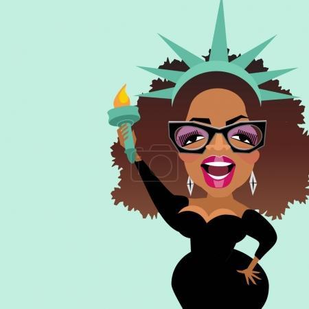 Caricature of celebrity and philanthropist