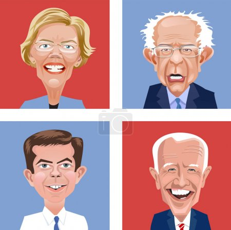 Cartoon heads of four Democratic candidates for Un...