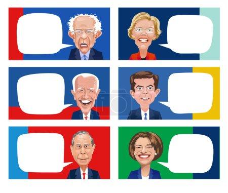 Illustration pour Caricatures de six candidats démocrates à l'élection présidentielle. Elizabeth Warren, Bernie Sanders, Pete Buttigieg, Joe Biden, Amy Klobuchar, Mike Bloomberg . - image libre de droit