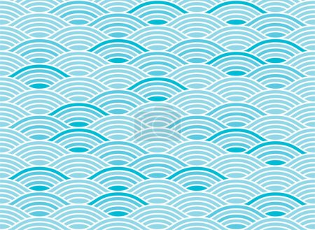 Illustration for Water wave seamless pattern.Oriental background and wallpaper. Japanese, Thai, Chinese style illustration. - Royalty Free Image