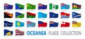 """Постер, картина, фотообои """"Флаги Океании коллекция. Векторная иллюстрация"""""""