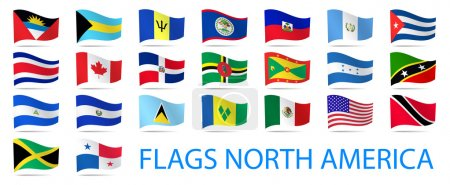 North America waving flags collection.