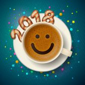 Coffee cup with smiling face Happy New Year 2018
