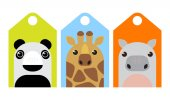 Vector set of tags with cute cartoon animals