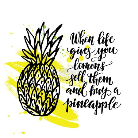 hand drawn pineapple and phrase
