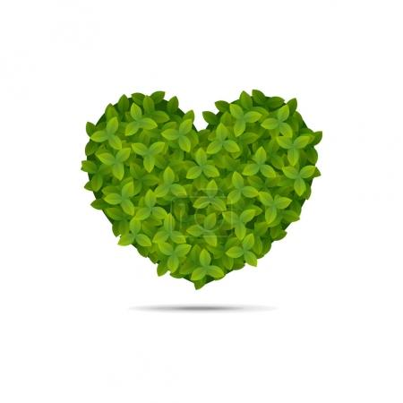 Heart shape covered in leaves