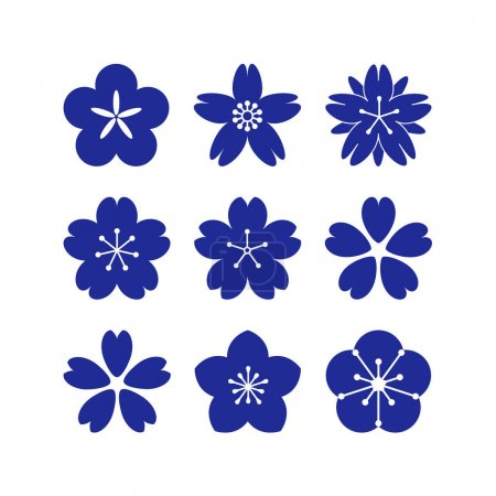 Illustration for Set of simple vector sakura flowers in flat style. Floral design element. - Royalty Free Image