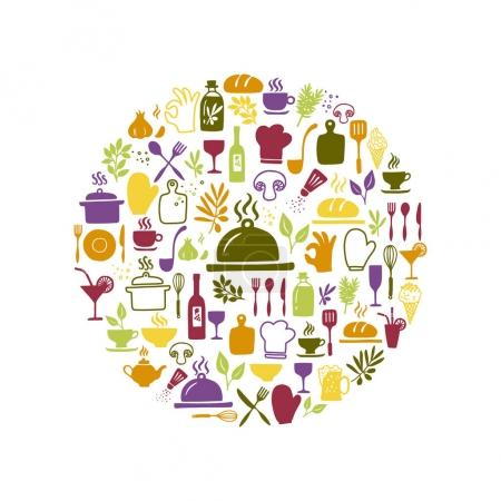 Illustration for Vector set of hand drawn kitchen and cooking icons. Food icons isolated on white background in a circle shape. - Royalty Free Image