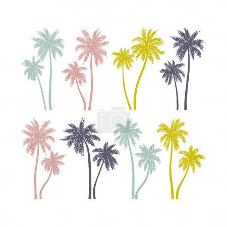 Set of Hand drawn palm trees