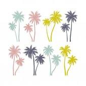 """Постер, картина, фотообои """"Набор рисованной пальмовых деревьев"""""""