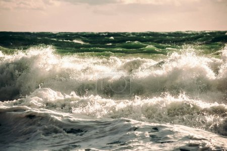 Photo for Storm green waves in the deep sea - Royalty Free Image