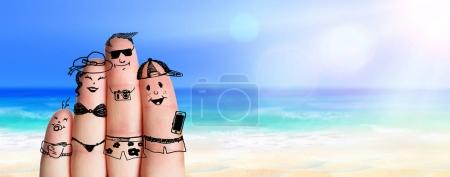Photo for Fingers Family On The Sunny Beach - Summer Holiday - Royalty Free Image