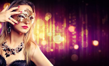Attractive Model Woman Wearing Carnival Mask