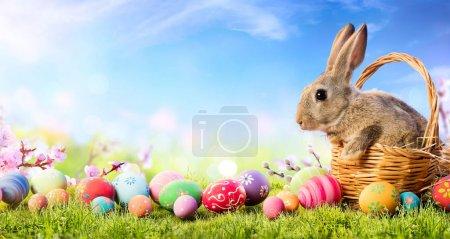 Photo pour Petit lapin dans le panier avec des œufs décorés - Carte de Pâques - image libre de droit