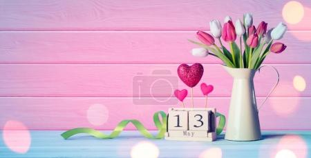 Mothers Day Greeting Card - Tulips And Calendar On Wooden Table
