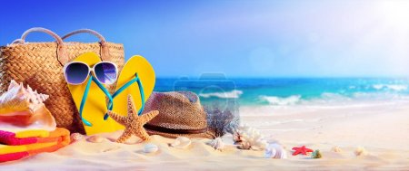 Photo for Beach Accessories On Seashore - Summer Holidays - Royalty Free Image