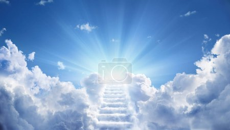 Stairway Leading Up To Heavenly Sky Toward The Light