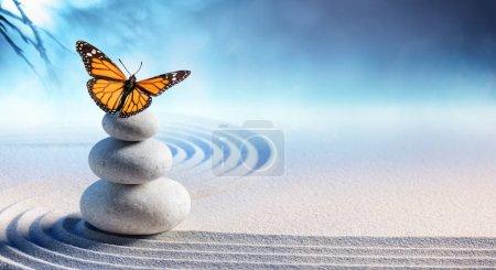 Photo pour Papillon sur les pierres de massage spa dans le jardin zen - image libre de droit