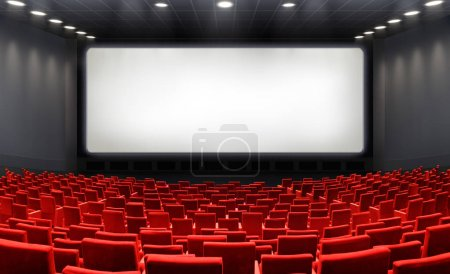 Movie Theater With Blank Screen And Red Seats - Cinema