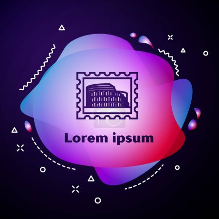 Illustration for Purple line Postal stamp and Coliseum icon isolated on dark blue background. Colosseum sign. Symbol of Ancient Rome, gladiator fights. Abstract banner with liquid shapes. Vector Illustration - Royalty Free Image