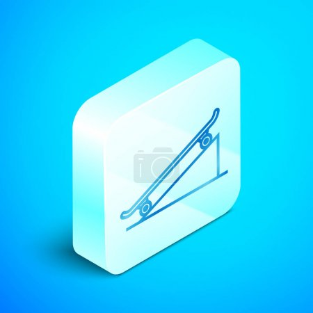 Isometric line Skateboard on street ramp icon isolated on blue background. Extreme sport. Sport equipment. Silver square button. Vector Illustration