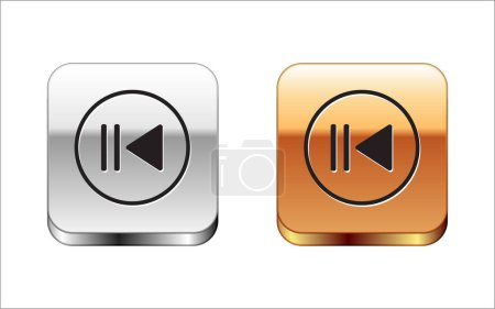 Black Rewind icon isolated on white background. Si...