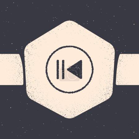 Grunge Rewind icon isolated on grey background. Mo...