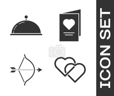 Illustration for Set Two Linked Hearts, Covered with a tray of food, Bow and arrow and Valentines day party flyer with heart icon. Vector - Royalty Free Image