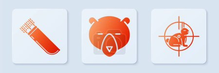 Illustration for Set Bear head, Quiver with arrows and Hunt on rabbit with crosshairs. White square button. Vector - Royalty Free Image