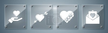 Illustration for Set Envelope with Valentine heart, Candy in heart shaped box and bow, Amour symbol with heart and arrow and Heart on hand. Square glass panels. Vector - Royalty Free Image