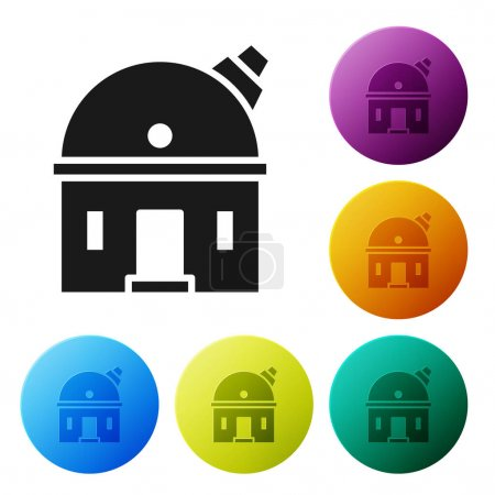 Black Astronomical observatory icon isolated on white background. Observatory with a telescope. Scientific institution. Set icons in color circle buttons. Vector Illustration