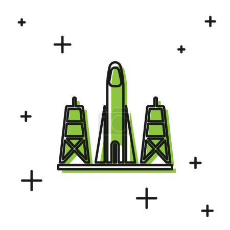 Black Rocket launch from the spaceport icon isolated on white background. Launch rocket in space.  Vector Illustration