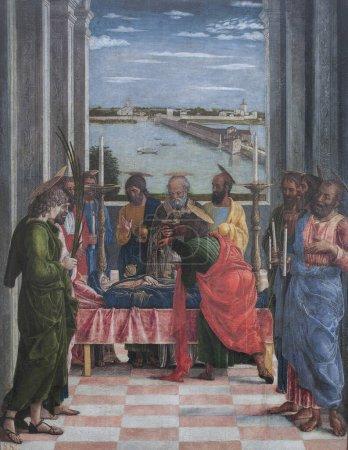 Photo pour La mort de la Vierge, 1412. Peinture d'Andrea Mantegna. Museo del Prado, Madrid - image libre de droit