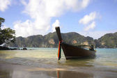 long tail boat on the beach at koh phi phi island in Thailand in Krabi