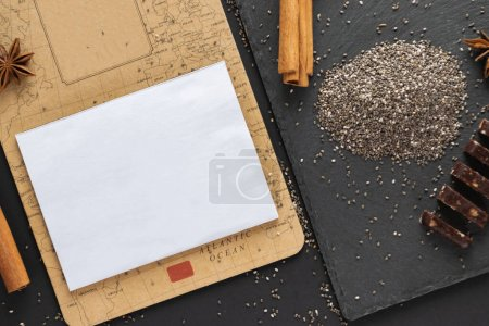 Photo for Mockup white paper with protein bar and chia seeds view from top. Flat lay with copy space. Superfood protein paleo diet concept. - Royalty Free Image