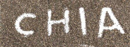 Photo pour Texte de Chia sur les graines dispersées - image libre de droit