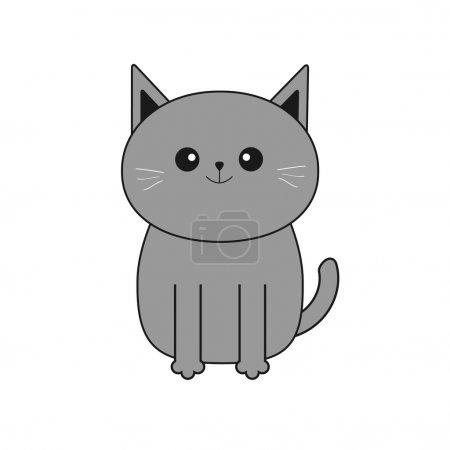 Cute gray cartoon cat
