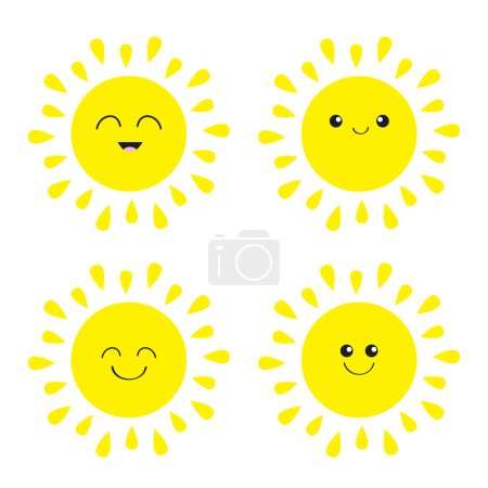 Illustration for Sun shining icons set with different emotions - Royalty Free Image