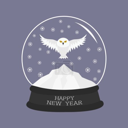 Snowy white owl in crystal ball