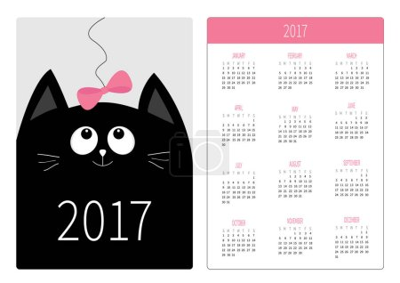 Calendar on 2017 year with black cat