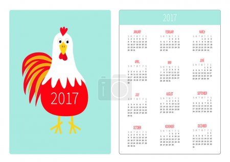 Pocket calendar 2017 year with rooster