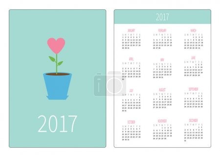 Pocket calendar 2017 year.