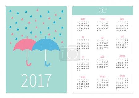 Pocket calendar with umbrellas