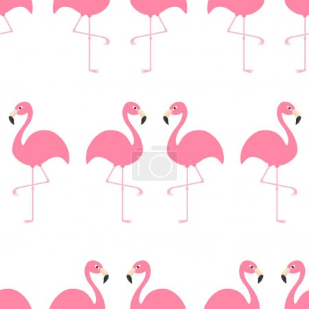 pattern with exotic tropical flamingos