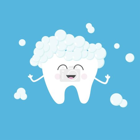 Illustration for Cute funny cartoon character of smiling tooth with toothpaste bubbles foam on blue background, dental concept - Royalty Free Image