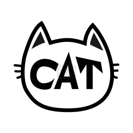 Black cat head face contour silhouette icon.
