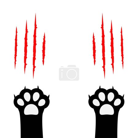 Black cat scratching paw silhouettes